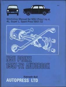 NSU PRINZ 1,2,3,4,4L,SUPER L,SPORT PRINZ AUTOBOOKS WORKSHOP MANUAL 1957-1972