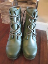 WOMENS SOREL ARMY GREEN RUBBER WEDGE BOOTS, SZ 10, NEW