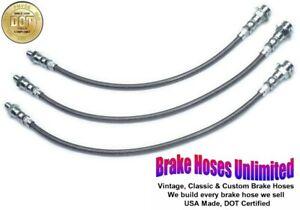 STAINLESS BRAKE HOSE SET Hudson Hornet Super & Super Six 1955 1956 1957