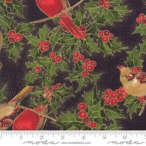 Moda Cardinal Song 33422 14M Black Cardinals Metallic Cotton