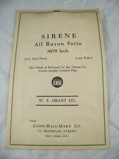 1930's SIRENE RAYON SATIN  FABRIC SAMPLE CATALOG COHN HALL MARX W T GRANTS