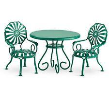 American Girl Kit Table and Chairs NIB Green Metal Patio Furniture Nanea Molly