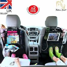 NEW - 2 x KICK MATS | CAR ORGANISER | TABLET HOLDER | CAR SEAT PROTECTOR | BLACK