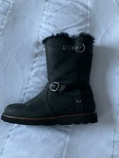 Black Leather Ugg Boots  7.5 ( Fit Uk 6) Buckle Silver Excellent Cond
