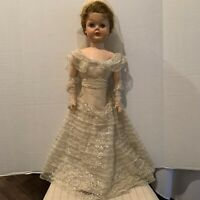 """Betty the Beautiful Bride Doll 30"""" Vintage Off White Lace Gown w/ silver accents"""