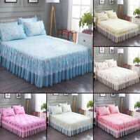 Lace Bed Skirt& Pillowcase Print Dust Chiffon Ruffle Bedspread Bedroom Bed Cover