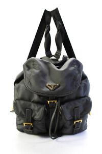 Prada Womens Logo Buckled Pocket Backpack Handbag Gray Gold Tone