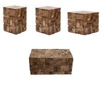 Beistelltisch Couchtisch Holz Quadratisch Modern Massiv Braun Hocker Balkon Edel