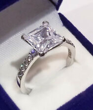 ring White Gold ov Size 7 3.50 Ct Princess cut Promise Solitaire Engagement
