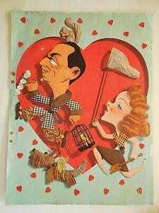 "Kapralik  Caricature - WILLIAM POWELL & MYRNA LOY - 1941 - ""Love Crazy"""