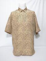 Burma Bibas Tan Squares Green Dots Tile Short Sleeve Mens Shirt Size Large