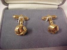 "Cuff Links/Box by Anson-vintage-1/2"" Love Knots-Gold Tone-Elbow Backs   #12702C"