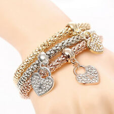3Pcs Women's Gold Silver Rose Gold Plated Cuff Heart Rhinestone Bangle Bracelet