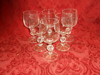 """SET/6""""CLAUDIA"""" Bohemia Crystal 5 3/4"""" Wine Glasses, Faceted Ball Stems, Czech."""