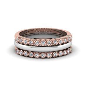 0.24 Carat Real Diamond Engagement Band Set Solid 18K Multi Tone Gold Size L M N