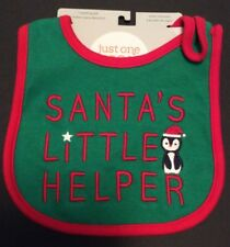 Carter's Just One Holiday Christmas Santa's Little Helper Green & Red Bib New