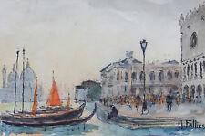 FALLIES MAURICE (1883- ?): AQUARELLE , VENISE , 1948 , LE MÔLE