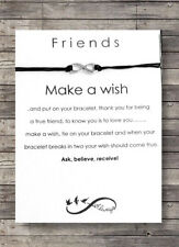 Friendship Card Wish String Charm Bracelet 'Best Friend Infinity Gift Tag #15AA
