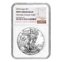 2018 1 oz Silver American Eagle NGC MS 69 Mint Error (Obv Struck Thru)