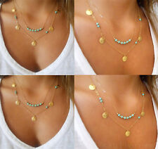 Retro Turquoise Pendant Gold Chain Chunky Statement Bib Coin Necklace Jewelry