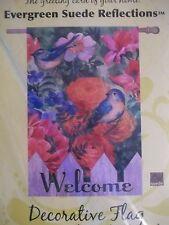 "NEW EVERGREEN SUEDE REFLECTIONS ""BIRD GARDEN"" BLUEBIRD WELCOME LARGE FLAG 29x43"""