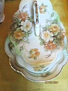 VINTAGE R S PRUSSIA REPRODUCTION CHEESE / BUTTER DISH  YELLOW ROSES