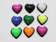 100 Mixed Enamel Color Dotted Rhinestone Flatback Acrylic Heart Cabochons 12mm