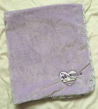 Carters Purple Butterfly Kisses Blanket Heart Floral Silky Satin Back Stripe