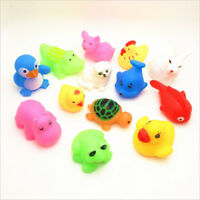 Cute 13Pcs Mixed Animals Colorful Soft Rubber Float Squeeze Baby Wash Bath Toy D