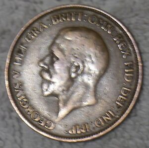 RARE! OLD ENGLISH COIN: KING GEORGE V ONE PENNY PIECE from 1928 [NL]