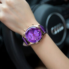 New Womens Ladies Diamond Leather Band Analog Quartz Bracelet Decor Wrist Watch