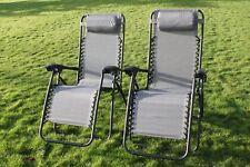 SET OF 2 Garden Sun Lounger Relaxer Recliner Chairs - in Grey Textoline