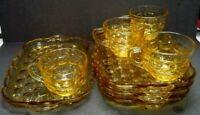 Vintage Federal Yorktown Honey Amber Bubble Glass Mid Century Luncheon Snack Set