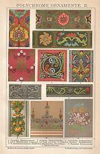 B0514 Ornamenti policromi - Cromolitografia d'epoca - 1904 Vintage print