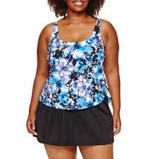 Le Cove Swim Dress Size 16W PLUS Floral Blue Purple Black $96 New