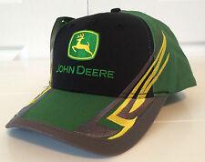 John Deere Black & Green Fabric Hat Cap Performance Color Block