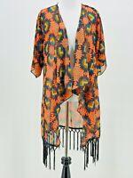 LuLaRoe Women's Orange Geometric Print Waterfall Fringe Monroe Kimono Size Small