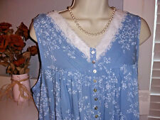 NWT $78 EILEEN WEST NIGHTGOWN PLUS 3X Mayflower Blue w White Floral Long Gown