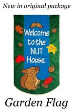 """Double Sided """"Welcome to the Nut House"""" Garden Flag 18.5"""" X 12.5"""" Fall Squirrel"""