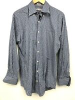 Peter Millar Mens Button Down Dress Blue Plaid Shirt Medium