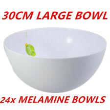 12x White Melamine Round Bowls 30cm Salad Mixing Kitchen Serving Catering Dinner