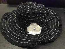 New Black Sunhat sun hat Size 5-7 5 6 7 Daisy flower floppy hat 18.95 GYMBOREE