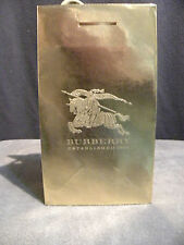 """Authentic Burberry Gift Shopping Bag Gold Small Size 8"""" x 4.75"""" x 3.5"""" Embossed"""