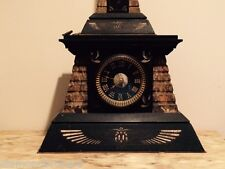 French (Paris) Egyptian Revival Bronze & Marble Clock w Obelisk 1880 Approx.