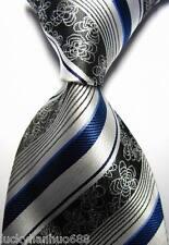 New Stripes Florals Silver Black Blue JACQUARD WOVEN 100% Silk Men's Tie Necktie