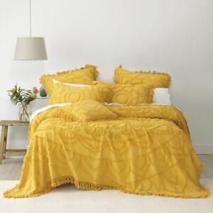 Bianca Santorini Soft Cotton Chenille Bedspread Set Mustard