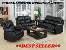 REAL GENUINE LEATHER RECLINER SOFA SUITE NEW BLACK BROWN 3+2+1 3 PIECE SUITE
