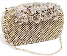 Unique Clasp Gold Diamante Crystal Diamond Evening bag Clutch Purse Party Prom