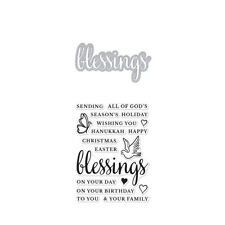 "Hero Arts Stamp & Cut ""BLESSINGS"" Clear Stamps With Matching Die Bundle"