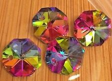 Rainbow Coloured Electroplated Octagon Shaped Faceted Glass Beads. Size 12x7mm.